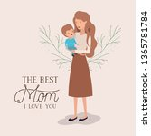 mothers day card with mother... | Shutterstock .eps vector #1365781784