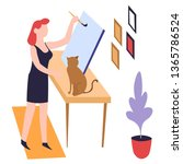 painting hobby woman painter... | Shutterstock .eps vector #1365786524