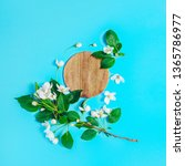 creative layout with blooming... | Shutterstock . vector #1365786977