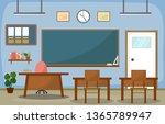 school classroom interior room... | Shutterstock .eps vector #1365789947