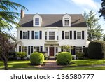 classic american suburban house ... | Shutterstock . vector #136580777