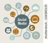 social media vintage over beige ... | Shutterstock .eps vector #136583135