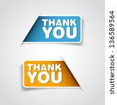 thank you   two grateful label  ... | Shutterstock .eps vector #136589564