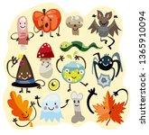halloween funny characters set. ... | Shutterstock .eps vector #1365910094