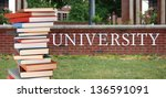 a pile of books in front of... | Shutterstock . vector #136591091