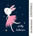 pretty bunny ballerina... | Shutterstock .eps vector #1365930611