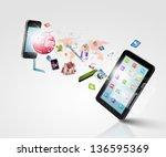 modern communication technology ... | Shutterstock . vector #136595369