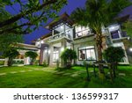 modern house at night | Shutterstock . vector #136599317