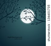 vector night background with... | Shutterstock .eps vector #136601735