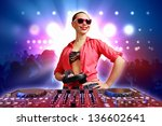 dj with a mixer equipment to... | Shutterstock . vector #136602641