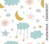 cute seamless unicorn pattern... | Shutterstock . vector #1366036247