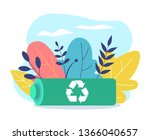 battery recycling. reclining... | Shutterstock .eps vector #1366040657