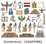 Ancient Egypt religious symbols and sacred gods. Vector Egyptian culture and history pyramid, Amon or Anubis and Osiris, Arab bedouin or scarab and scorpion, mosque and pharaoh temple, map and flag