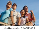 team of smiling tennis players  ... | Shutterstock . vector #136605611
