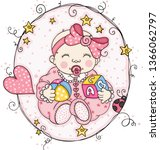 pink label with baby girl    Shutterstock .eps vector #1366062797