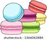 pile of colorful macaron   Shutterstock .eps vector #1366062884