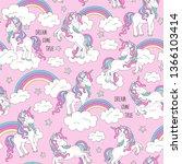 unicorn pattern and rainbow.... | Shutterstock .eps vector #1366103414