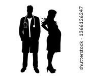 vector silhouette of doctor... | Shutterstock .eps vector #1366126247