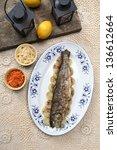 fish plate in greek tavern. top ...
