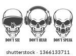 human skulls in headphones ... | Shutterstock .eps vector #1366133711