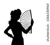 woman in long dress in dancing... | Shutterstock .eps vector #1366150964