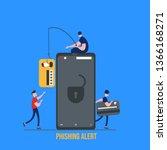 concept of hacker attack  fraud ... | Shutterstock .eps vector #1366168271