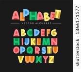 colorful alphabet set | Shutterstock .eps vector #1366171577