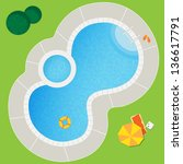 swimming pool on a green meadow ... | Shutterstock .eps vector #136617791