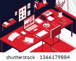 isometric working space is a... | Shutterstock .eps vector #1366179884