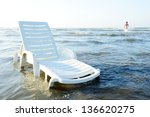 Beach chair on summer vacation, - stock photo