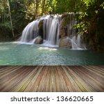 deep forest waterfall at erawan ... | Shutterstock . vector #136620665