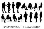 set of young and adult men and... | Shutterstock .eps vector #1366208384