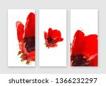 red anemones flower  watercolor ... | Shutterstock .eps vector #1366232297