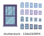window for building fitted with ... | Shutterstock .eps vector #1366265894
