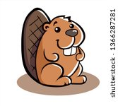 Funny Cartoon Beaver. Vector...