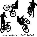 silhouette of male doing bike... | Shutterstock .eps vector #1366294847