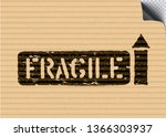 grunge fragile cargo stamp with ... | Shutterstock .eps vector #1366303937