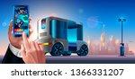 autonomous driverless shuttle... | Shutterstock . vector #1366331207