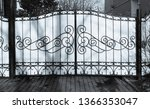 metal gate with ornamental ... | Shutterstock . vector #1366353047