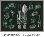 vector restaurant menu with... | Shutterstock .eps vector #1366369184