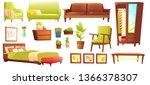 living or bedroom object set... | Shutterstock . vector #1366378307