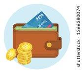 money in wallet flat vector... | Shutterstock .eps vector #1366380074