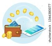 online money transfer... | Shutterstock .eps vector #1366380077