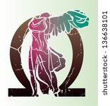 Vector abstract illustration of Greek sculpture Nike from Samothrace. Pink, turquoise, in front of Omega letter.