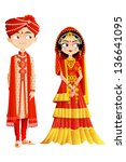 easy to edit vector illustration of Indian wedding couple