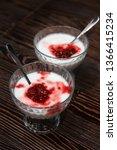 raspberry yougurt on wooden... | Shutterstock . vector #1366415234