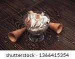 ice cream on brown wooden... | Shutterstock . vector #1366415354