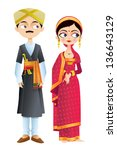 easy to edit vector illustration of wedding couple of Karnataka