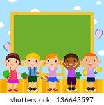 cute five children and...   Shutterstock .eps vector #136643597