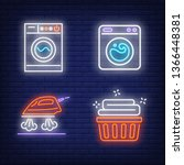 washing machines  steaming iron ... | Shutterstock .eps vector #1366448381